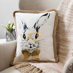 Bunny with Glasses and Bow Pillow