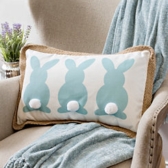 Bunnies with Pom Tails Pillow