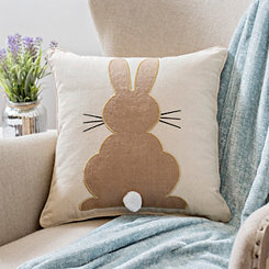 Natural Bunny Outline with Pom Tail Pillow