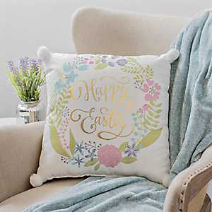 Happy Easter Floral Pillow with Poms