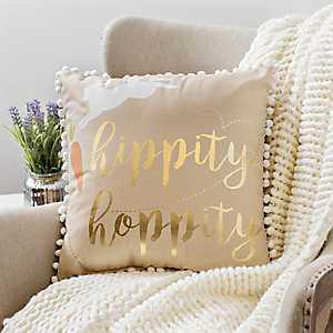 Hippity Hoppity Bunny Pillow with Poms
