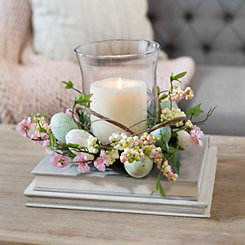 Easter Egg with Blossom Glass Candle Holder
