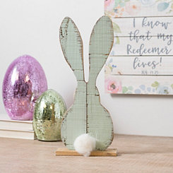 Blue Wooden Bunny with Real Cotton Tail