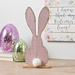 Pink Wooden Bunny with Real Cotton Tail
