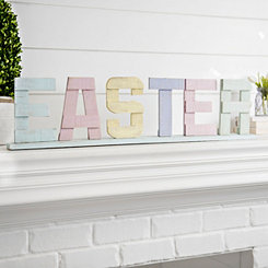 Cutout Pastel Wood Easter Tabletop Sign
