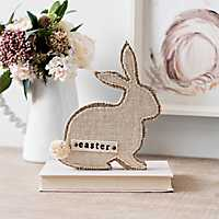 Burlap and Wood Easter Bunny Figurine