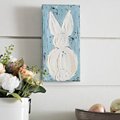 Blue and White Easter Bunny Canvas Art Print