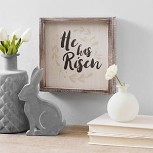 He Has Risen Framed Wood Block Art
