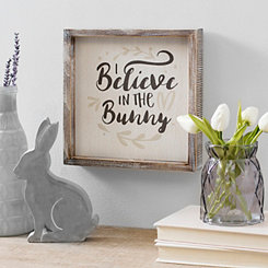 Believe in the Bunny Framed Wood Block Art Print