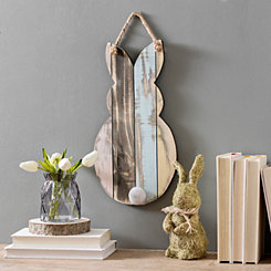Wood Rustic Easter Bunny Hanging Wall Plaque