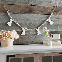 White Bunny Beaded Banner