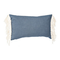 Navy Linen Fringe Accent Pillow