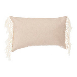 Ivory Linen Fringe Accent Pillow