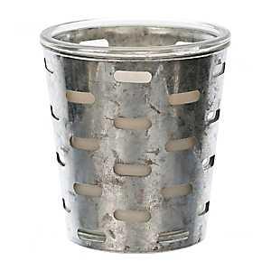 Galvanized Metal Cutout Jar Candle