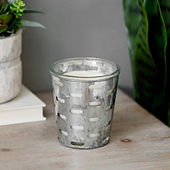 Galvanized Metal Cutout Jar Candle