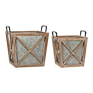 Galvanized Metal and Wood Planters, Set of 2