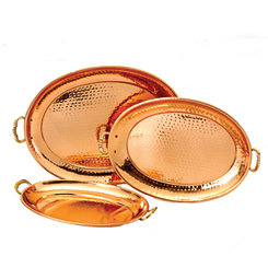 Hammered Copper Oval Serving Trays, Set of 3
