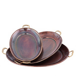 Hammered Antique Copper Serving Trays, Set of 3