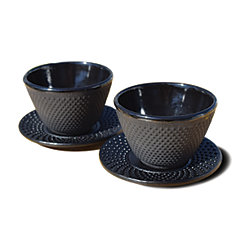 Black Cast Iron Tea Cups with Saucers, Set of 2