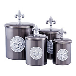 Antique Pewter Fleur-de-lis Canisters, Set of 4