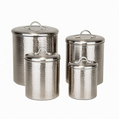 Hammered Brushed Nickel Canisters, Set of 4