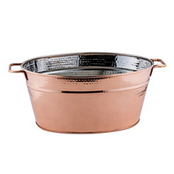 Hammered Copper Oval Beverage Tub