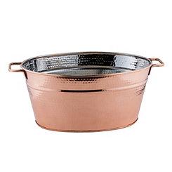 Hammered Copper Oval Beverage Tub