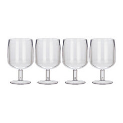 Clear Small Plastic Wine Glasses, Set of 4