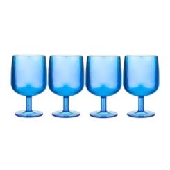 Blue Small Plastic Wine Glasses, Set of 4
