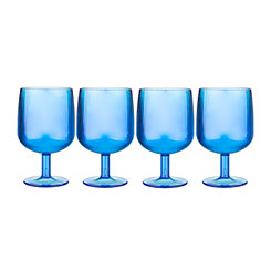 Blue Small Plastic Wine Glasses, Set of 4