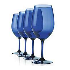 Blue Plastic Cabernet Wine Glasses, Set of 4