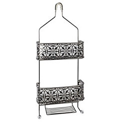 Black Chrome Lace Shower Caddy