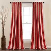 Red Julia Stripe Curtain Panel Set, 84 in.