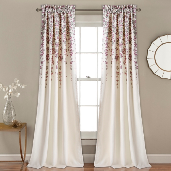 Purple Weeping Flower Curtain Panel Set, 84 In.