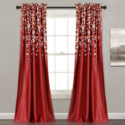 Red Weeping Flower Curtain Panel Set, 84 in.
