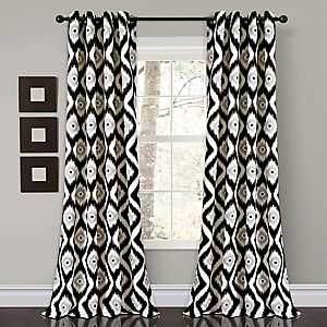 Black Ikat Diamond Curtain Panel Set, 84 in.