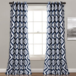 Navy Ikat Diamond Curtain Panel Set, 84 in.