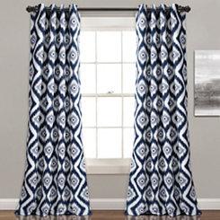 Navy Ikat Diamond Curtain Panel Set, 84 in.