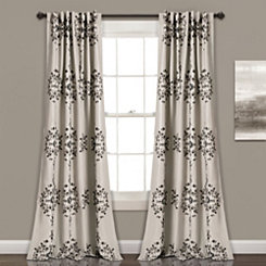 Gray Keya Medallion Curtain Panel Set, 84 in.