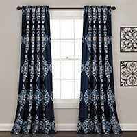 Navy Keya Medallion Curtain Panel Set, 84 in.