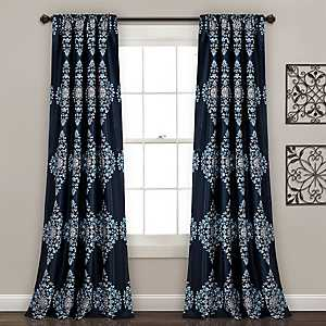 Navy Keya Medallion Curtain Panel Set, 84 in.