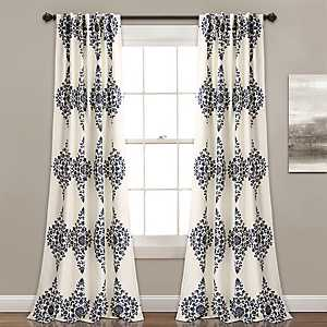 Cream Keya Medallion Curtain Panel Set, 84 in.