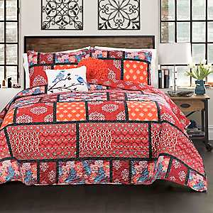 Red Meridian 5-pc. Full/Queen Quilt Set