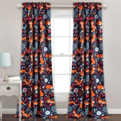 Navy Pixie Fox Curtain Panel Set, 84 in.