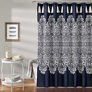 Navy Boho Medallion Shower Curtain