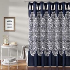 Navy Boho Medallion Shower Curtain