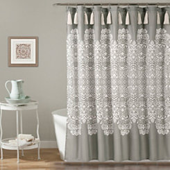 Gray Boho Medallion Shower Curtain