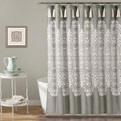 Gray Boho Medallion Shower Curtain