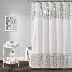 Silver Shimmer Sequins Shower Curtain