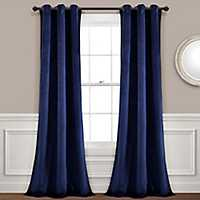 Navy Prima Velvet Curtain Panel Set, 84 in.